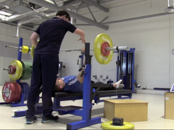 Athlete Patrick Monahan undergoing Strength and Conditioning training at the Sport Ireland Institute