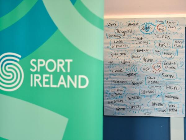 sport ireland branding and words associated with managers