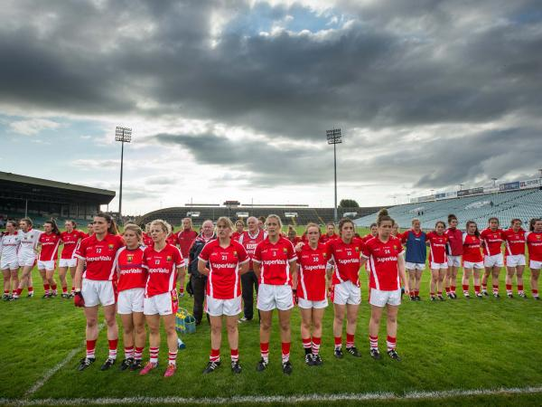 Cork Ladies Football line up on the pitch