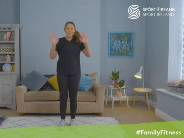 Emer O'Neill waves at the start of the first Family Fitness Video