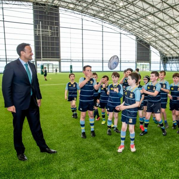 An Taoiseach, Leo Varadkar greeting young athlete at the launch of Phase 2 of the Sport Ireland National Indoor Arena